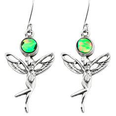 Natural green abalone paua seashell 925 silver angel wings fairy earrings p50773