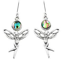 Natural green abalone paua seashell 925 silver angel wings fairy earrings p50775