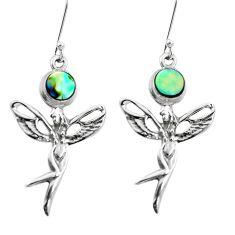 Natural green abalone paua seashell 925 silver angel wings fairy earrings p50776