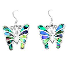 7.02gms natural green abalone paua seashell 925 silver butterfly earrings c2546