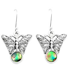 4.02cts natural green abalone paua seashell 925 silver butterfly earrings p38478