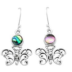 4.21cts natural green abalone paua seashell 925 silver butterfly earrings p38494