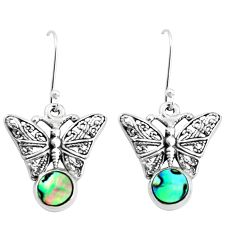 3.91cts natural green abalone paua seashell 925 silver butterfly earrings p38496