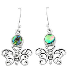 3.84cts natural green abalone paua seashell 925 silver butterfly earrings p50769