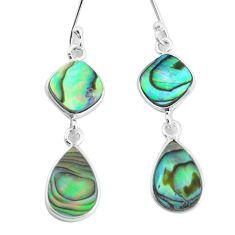 8.46cts natural green abalone paua seashell 925 silver dangle earrings p60721