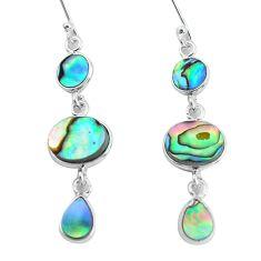 9.07cts natural green abalone paua seashell 925 silver dangle earrings p60729