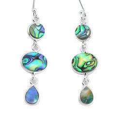 9.13cts natural green abalone paua seashell 925 silver dangle earrings p60732