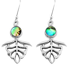 4.38cts natural green abalone paua seashell 925 sterling silver earrings p38453