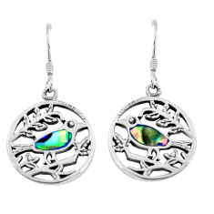 3.69gms natural green abalone paua seashell enamel 925 silver earrings c2543