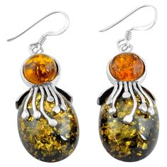 21.53cts natural green amber from colombia 925 sterling silver earrings c4513