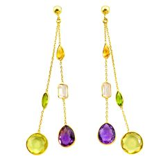 15.18cts natural green amethyst 925 silver 14k gold chandelier earrings p87437