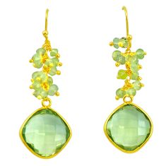 22.05cts natural green amethyst 925 silver 14k gold dangle earrings p50010