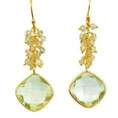 21.25cts natural green amethyst 925 silver 14k gold dangle earrings p75666