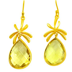 20.33cts natural green amethyst 925 silver 14k gold dangle earrings p75702