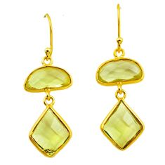 11.86cts natural green amethyst 925 silver 14k gold dangle earrings p75849
