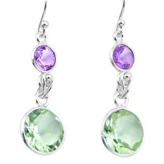 9.94cts natural green amethyst amethyst 925 silver dangle earrings p91425