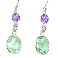 11.25cts natural green amethyst amethyst 925 silver dangle earrings p91429