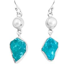 14.72cts natural green apatite rough pearl 925 silver dangle earrings p51741