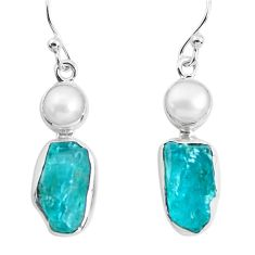 11.57cts natural green apatite rough pearl 925 silver dangle earrings p51742