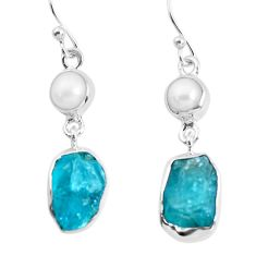 13.35cts natural green apatite rough pearl 925 silver dangle earrings p51745