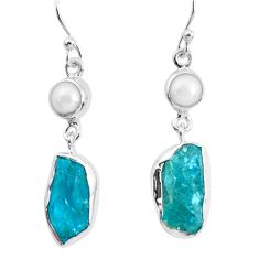 13.79cts natural green apatite rough pearl 925 silver dangle earrings p51748