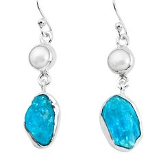 12.96cts natural green apatite rough pearl 925 silver dangle earrings p51749