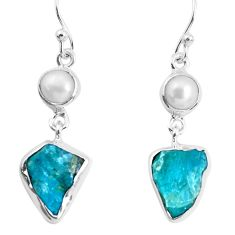 12.96cts natural green apatite rough pearl 925 silver dangle earrings p51750