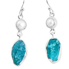 14.26cts natural green apatite rough pearl 925 silver dangle earrings p51753