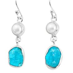 12.06cts natural green apatite rough pearl 925 silver dangle earrings p51754