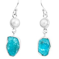 14.23cts natural green apatite rough pearl 925 silver dangle earrings p51756