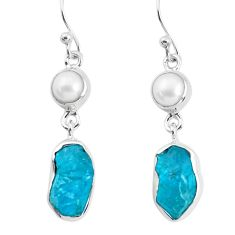 13.35cts natural green apatite rough pearl 925 silver dangle earrings p51757