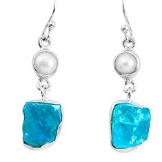 15.97cts natural green apatite rough pearl 925 silver dangle earrings p51759