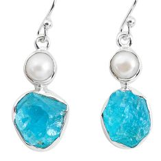 14.26cts natural green apatite rough pearl 925 silver dangle earrings p51861