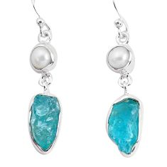 13.27cts natural green apatite rough pearl 925 silver dangle earrings p51862