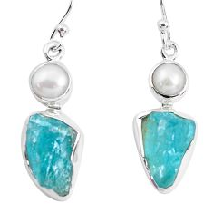 12.96cts natural green apatite rough pearl 925 silver dangle earrings p51863