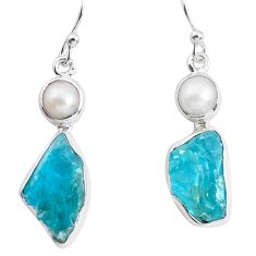13.84cts natural green apatite rough pearl 925 silver dangle earrings p51865