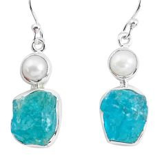 15.58cts natural green apatite rough pearl 925 silver dangle earrings p51867