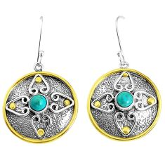 1.88cts natural green arizona mohave turquoise 925 silver dangle earrings p37737