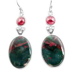 19.09cts natural green bloodstone african (heliotrope) silver earrings p78688