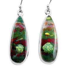 19.20cts natural green bloodstone african (heliotrope) silver earrings p88702