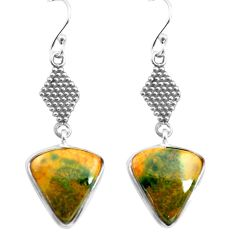 10.08cts natural green bloodstone african 925 silver dangle earrings p72593