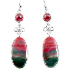 19.09cts natural green bloodstone african 925 silver dangle earrings p78694