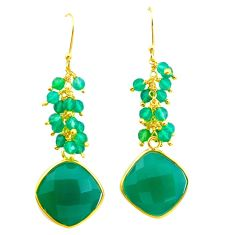 19.76cts natural green chalcedony 925 silver 14k gold chandelier earrings p49763