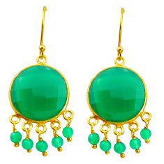 21.06cts natural green chalcedony 925 silver 14k gold dangle earrings p50081