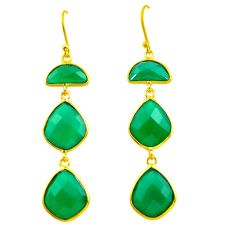 24.61cts natural green chalcedony 925 silver 14k gold dangle earrings p75270