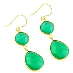 20.40cts natural green chalcedony 925 silver 14k gold dangle earrings p75510