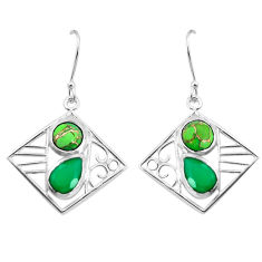 7.22cts natural green chalcedony 925 silver dangle earrings p32494