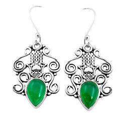 6.85cts natural green chalcedony 925 silver hand of god hamsa earrings p41445