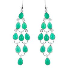 20.33cts natural green chalcedony 925 sterling silver chandelier earrings p54502
