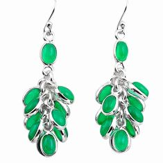 23.13cts natural green chalcedony 925 sterling silver chandelier earrings p88483